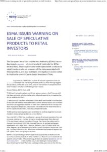 ESMA issues warning on sale of speculative products to retail investors